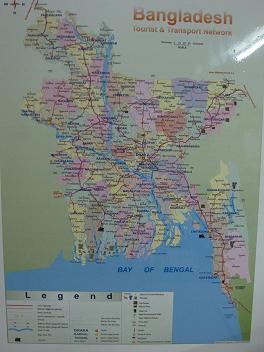 Kort over Bangladesh