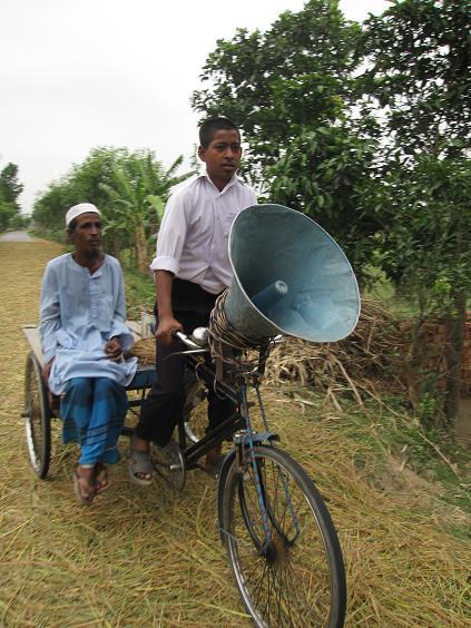 En cykel med hoejtaler